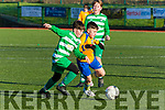Rioghan O'Sullivan Killorglin and Odran O'Shea Killarney Celtic battle for possesion during their league game in Celtic Park on Saturday