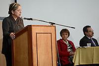 """BOGOTÁ -COLOMBIA. 10-10-2014. Maria Pulina Dueñas, Directora Derechos humanos del  Ministerio del Interior de Colombia, interviene durante el encuentro por la """"Dignidad de las Víctimas del Genocidio contra La UP"""" realizado hoy, 10 de octuber de 2014, en la ciudad de Bogotá./ Maria Pulina Dueñas, head of Human Rights of Ministry of Interiot of Colombia, in her speech during the meeting for the """"Dignity of Victims of Genocide against The UP"""" took place today, October 10 2014, at Bogota city. Photo: Reiniciar /VizzorImage/ Gabriel Aponte<br /> NO VENTAS / NO PUBLICIDAD / USO EDITORIAL UNICAMENTE / USO OBLIGATORIO DELCREDITO"""