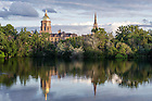 June 26, 2014; St. Joseph Lake with the Golden Dome and Basilica of the Sacred Heart before sunset.<br /> <br /> (Photo by Barbara Johnston/University of Notre Dame