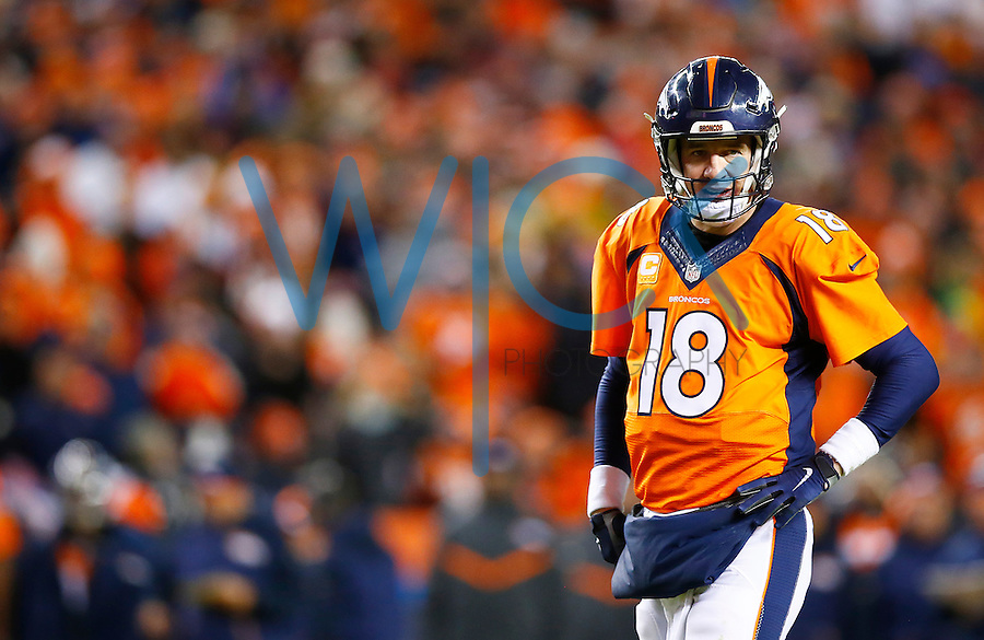 Peyton Manning #18 of the Denver Broncos looks on against the Pittsburgh Steelers during the AFC Divisional Round Playoff game at Sports Authority Field at Mile High on January 17, 2016 in Denver, Colorado. (Photo by Jared Wickerham/DKPittsburghSports)