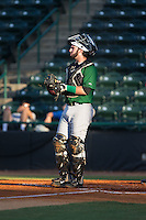 Savannah Sand Gnats catcher Tomas Nido (7) on defense against the Hickory Crawdads at L.P. Frans Stadium on June 15, 2015 in Hickory, North Carolina.  The Crawdads defeated the Sand Gnats 4-1.  (Brian Westerholt/Four Seam Images)