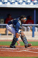 GCL Rays catcher Rafelin Lorenzo (8) during the first game of a doubleheader against the GCL Red Sox on August 4, 2015 at Charlotte Sports Park in Port Charlotte, Florida.  GCL Red Sox defeated the GCL Rays 10-2.  (Mike Janes/Four Seam Images)