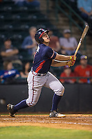 Luke Dykstra (4) of the Rome Braves follows through on his swing against the Hickory Crawdads at L.P. Frans Stadium on May 12, 2016 in Hickory, North Carolina.  The Braves defeated the Crawdads 3-0.  (Brian Westerholt/Four Seam Images)