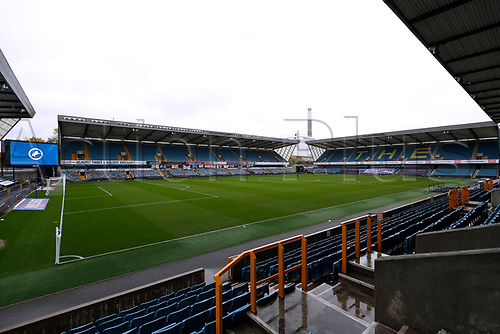 31st October 2020; The Den, Bermondsey, London, England; English Championship Football, Millwall Football Club versus Huddersfield Town; General view of a very wet day inside The Den Stadium before kick off