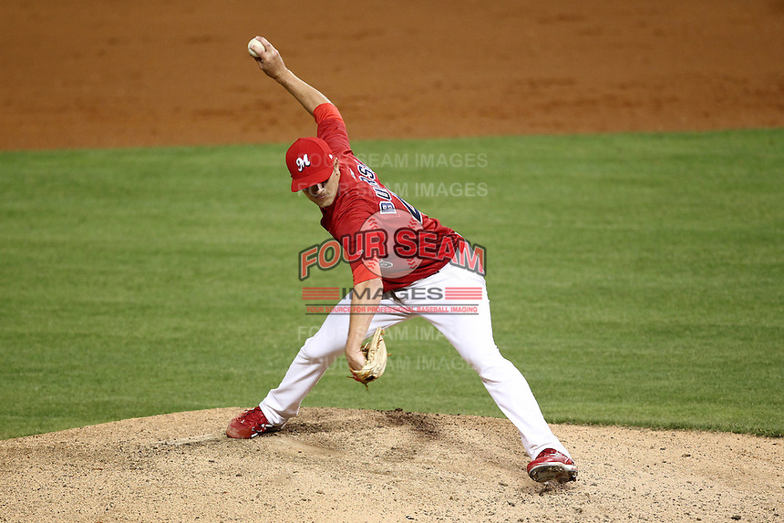 Memphis Redbirds pitcher Jason Buursma #46 delivers a pitch during a game versus the Round Rock Express at Autozone Park on April 29, 2011 in Memphis, Tennessee.  Round Rock defeated Memphis by the score of 5-4 in 13 innings.  Photo By Mike Janes/Four Seam Images