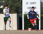 In an evenly matched and hard fought game, the Newman Greenies defeated the St. Martin's Saints 2-1 on a goal in the final minutes of the game.