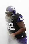 TCU Horned Frogs nose tackle Ray Burns (92) in action during the game between the Oklahoma Sooners and the TCU Horned Frogs  at the Amon G. Carter Stadium in Fort Worth, Texas. OU defeats TCU 24 to 17.
