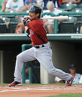 15 March 2009: Kazuo Matsui of the Houston Astros hits during a game against the Atlanta Braves at the Braves' Spring Training camp at Disney's Wide World of Sports in Lake Buena Vista, Fla. Photo by:  Tom Priddy/Four Seam Images