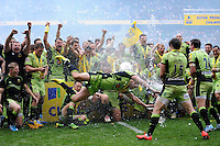 Northampton Saints celebrate winning the Aviva Premiership Rugby Final after extra time against Saracens during the Aviva Premiership Final between Saracens and Northampton Saints at Twickenham Stadium on Saturday 31st May 2014 (Photo by Rob Munro)