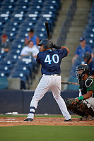 Tampa Tarpons Dermis Garcia (40) at bat during a Florida State League game against the Daytona Tortugas on May 17, 2019 at George M. Steinbrenner Field in Tampa, Florida.  Daytona defeated Tampa 8-6.  (Mike Janes/Four Seam Images)