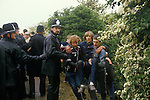 Miners Strike. Orgreave Near Rotherham Yorkshire 1984. Miner helped away from the picket line by colleagues. 1980s UK