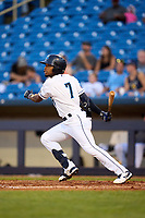 Lake County Captains Jose Tena (7) bats during a game against the Great Lakes Loons on August 28, 2021 at Classic Park in Eastlake, Ohio.  (Mike Janes/Four Seam Images)