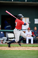 New Hampshire Fisher Cats first baseman Juan Kelly (25) follows through on a swing during the first game of a doubleheader against the Harrisburg Senators on May 13, 2018 at FNB Field in Harrisburg, Pennsylvania.  New Hampshire defeated Harrisburg 6-1.  (Mike Janes/Four Seam Images)