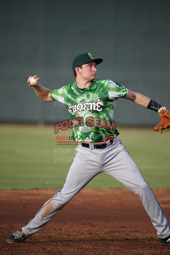 Austin Filiere (7) of the Eugene Emeralds throws during a game against the Salem-Keizer Volcanoes at Volcanoes Stadium on July 24, 2017 in Keizer, Oregon. Eugene defeated Salem-Keizer, 7-6. (Larry Goren/Four Seam Images)