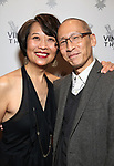 """Jeannie Sakata and Francis Jue attending the Opening Night Afterparty for The Vineyard Theatre production of  """"Do You Feel Anger?"""" at the Vineyard Theatre on April 2, 2019 in New York City."""