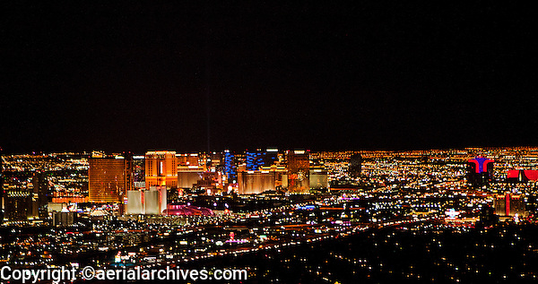 aerial photograph night time skyline Las Vegas, Clark County, Nevada