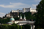 Hohensalzburg Fortress as seen from the Mirabell Gardens.