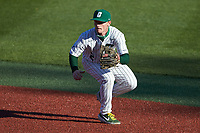 Charlotte 49ers second baseman Carson Johnson (2) on defense against the Florida Atlantic Owls at Hayes Stadium on April 2, 2021 in Charlotte, North Carolina. The 49ers defeated the Owls 9-5. (Brian Westerholt/Four Seam Images)