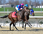 March 27, 2021: Dreamalildreamofu #1, ridden by jockey Florent Geroux, wins the Latonia Stakes on Jeff Ruby Steaks Stakes Day at Turfway Park in Florence, Kentucky. Jessica Morgan/Eclipse Sportswire/CSM