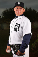 February 27, 2010:  Pitcher Enrique Gonzalez (62) of the Detroit Tigers poses for a photo during media day at Joker Marchant Stadium in Lakeland, FL.  Photo By Mike Janes/Four Seam Images
