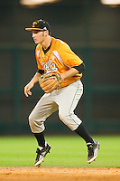 Second baseman Will Maddox #1 of the Tennessee Volunteers on defense against the Houston Cougars at Minute Maid Park on March 2, 2012 in Houston, Texas.  The Cougars defeated the Volunteers 7-4.  (Brian Westerholt/Four Seam Images)