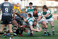 Harry Casson of Ealing Trailfinders tries to burst through during the Championship Cup Quarter Final match between Ealing Trailfinders and Nottingham Rugby at Castle Bar , West Ealing , England  on 2 February 2019. Photo by Carlton Myrie / PRiME Media Images.
