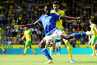 28th August 2021; Carrow Road, Norwich, Norfolk, England; Premier League football, Norwich versus Leicester; Wilfred Ndidi of Leicester City is under pressure from Pierre Lees-Melou of Norwich City