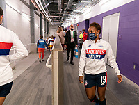ORLANDO, FL - FEBRUARY 24: Crystal Dunn #19 of the USWNT leaves the locker room before a game between Argentina and USWNT at Exploria Stadium on February 24, 2021 in Orlando, Florida.