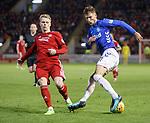 06.02.2019:Aberdeen v Rangers: Borna Barisic drags the ball behind Gary Mackay-Steven
