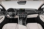Stock photo of straight dashboard view of 2020 Genesis G70 Prestige 4 Door Sedan Dashboard