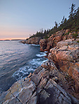 Waves crash into the granite cliffs along the western shore of the Schoodic Peninsula, Acadia National Park, Maine