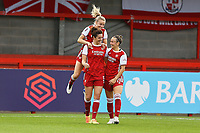 Jennifer Beattie (5) of Arsenal scores the third goal for her team and celebrates during Brighton & Hove Albion Women vs Arsenal Women, Barclays FA Women's Super League Football at Broadfield Stadium on 11th October 2020