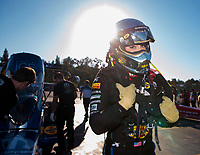Nov 17, 2019; Pomona, CA, USA; NHRA top fuel driver Leah Pritchett during the Auto Club Finals at Auto Club Raceway at Pomona. Mandatory Credit: Mark J. Rebilas-USA TODAY Sports