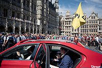 Tour boss Christian Prudhomme announcing the departure of the 2019 Tour de France over the radio at the race start in Brussels<br /> <br /> Stage 1: Brussels to Brussels(BEL/192km) 106th Tour de France 2019 (2.UWT)<br /> <br /> ©kramon