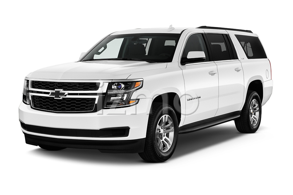 2016 Chevrolet Suburban 1500 LS 5 Door SUV angular front stock photos of front three quarter view