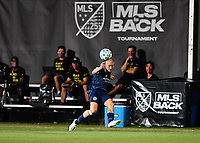 LAKE BUENA VISTA, FL - JULY 26: Alexander Ring of New York City FC watches his cross during a game between New York City FC and Toronto FC at ESPN Wide World of Sports on July 26, 2020 in Lake Buena Vista, Florida.