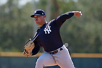 New York Yankees pitcher Justus Sheffield (9) delivers a pitch during an Instructional League game against the Pittsburgh Pirates on September 28, 2017 at Pirate City in Bradenton, Florida.  (Mike Janes/Four Seam Images)