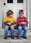 Country cousins at the ranch with the chickens, San Luis Obispo, California.(Cash and Evan)
