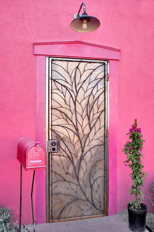 Metal door with mailbox. Tucson. Arizona