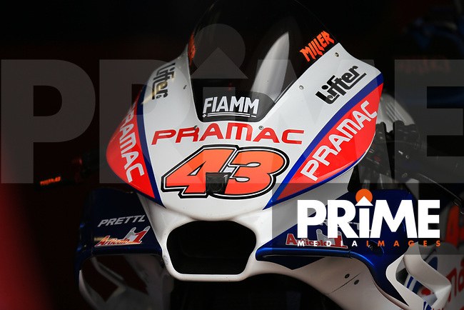 General View of Jack Miller (43) of the Alma Pramac Racing (Ducati) race team's motorcycle during the GoPro British MotoGP at Silverstone Circuit, Towcester, England on 26 August 2018. Photo by Chris Brown / PRiME Media Images