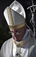 Pope Francis during his visit at Santa Maria Regina Pacis church in Ostia, south of Rome. May 3, 2015