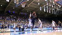 DUKE, NC - FEBRUARY 15: Juwan Durham #11 of the University of Notre Dame shoots over Javin DeLaurier #12 of Duke University during a game between Notre Dame and Duke at Cameron Indoor Stadium on February 15, 2020 in Duke, North Carolina.