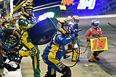 Monster Energy NASCAR Cup Series<br /> Go Bowling 400<br /> Kansas Speedway, Kansas City, KS USA<br /> Saturday 13 May 2017<br /> Kyle Busch, Joe Gibbs Racing, M&M's Red Nose Toyota Camry pit stop<br /> World Copyright: Nigel Kinrade<br /> LAT Images<br /> ref: Digital Image 17KAN1nk09903