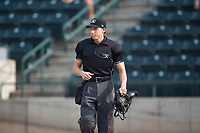 Home plate umpire Matt Herrera during a Pioneer League game between the Missoula Osprey and the Orem Owlz at Ogren Park Allegiance Field on August 19, 2018 in Missoula, Montana. The Missoula Osprey defeated the Orem Owlz by a score of 8-0. (Zachary Lucy/Four Seam Images)