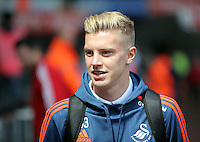 Adam King of Swansea City arrives during the Swansea City FC v Manchester City Premier League game at the Liberty Stadium, Swansea, Wales, UK, Sunday 15 May 2016