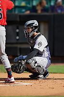 Jackson Generals catcher Renae Martinez (4) during a Southern League game against the Mississippi Braves on July 23, 2019 at The Ballpark at Jackson in Jackson, Tennessee.  Jackson defeated Mississippi 2-0 in the first game of a doubleheader.  (Mike Janes/Four Seam Images)