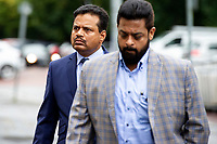 Pictured: Khitish Mohanty (left) arrives at Cardiff Crown Court, Cardiff, Wales, UK. Monday 07 October 2019<br /> Re: Orthopaedic surgeon Khitish Mohanty, has been cleared of two sex offence charges involving a patient at a private hospital, by a jury at Cardiff Crown Court, Wales, UK. (02 Nov 2020)<br /> Mohanty, 52, denied attacking a 20-year-old when he was examining her at Bupa hospital in Cardiff, after a serious car crash in 2005.<br /> A jury was told a criminal investigation started in 2017 after the complainant, now in her mid-30s, contacted police.