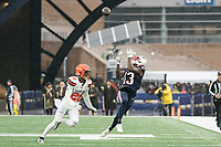 FOXBOROUGH, MA - OCTOBER 27: New England Patriots Wide Receiver Phillip Dorsett #13 preparing to catch a pass with Cleveland Browns Cornerback Greedy Williams #26 in pursuit during a game between Cleveland Browns and New Enlgand Patriots at Gillettes on October 27, 2019 in Foxborough, Massachusetts.