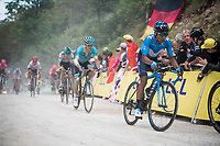 Nairo Quintana (COL/Movistar) up the gravel section in the final stretch to the finish line up La Planche des Belles Filles<br /> <br /> Stage 6: Mulhouse to La Planche des Belles Filles (157km)<br /> 106th Tour de France 2019 (2.UWT)<br /> <br /> ©kramon