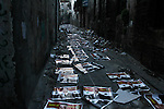 A street with posters of President Bashar Al-Assad  litter  a street in Aleppo's Old City on November 16, 2012. ..©Javier Manzano